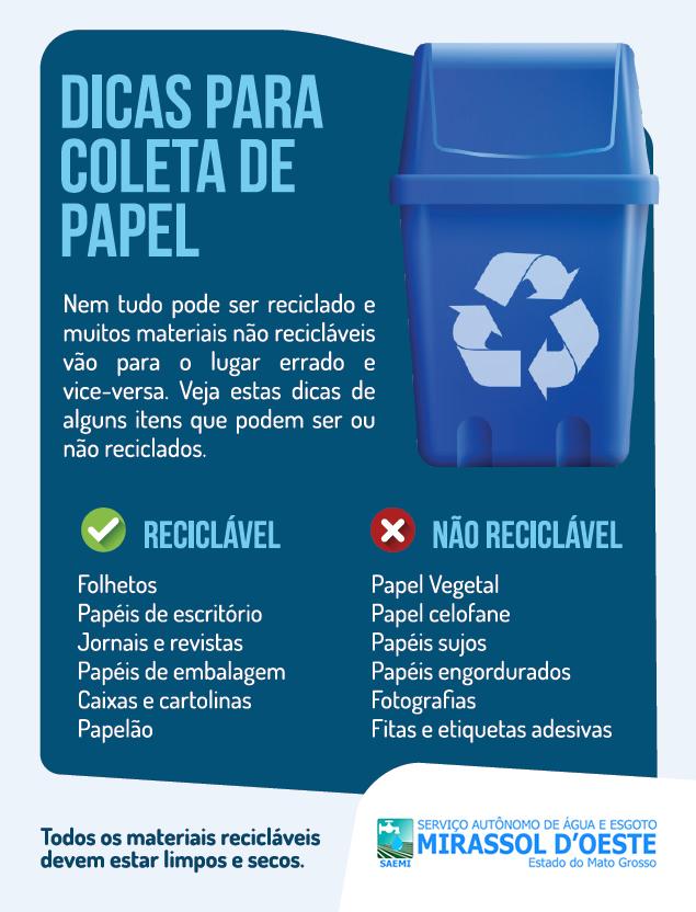 Dicas coleta de lixo reciclável - PAPEL
