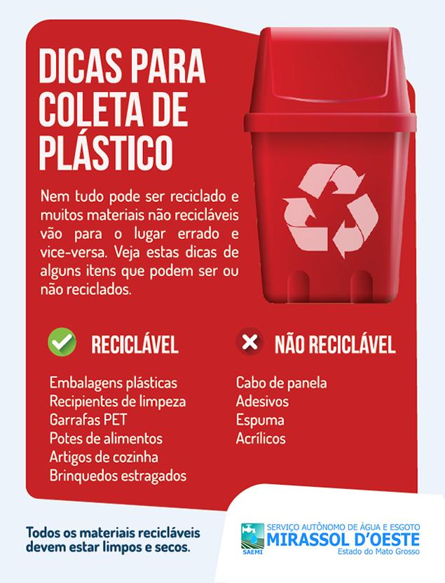 Dicas coleta de lixo reciclável - PLÁSTICO
