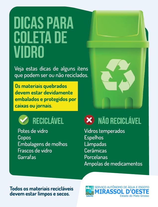 Dicas coleta de lixo reciclável - VIDRO
