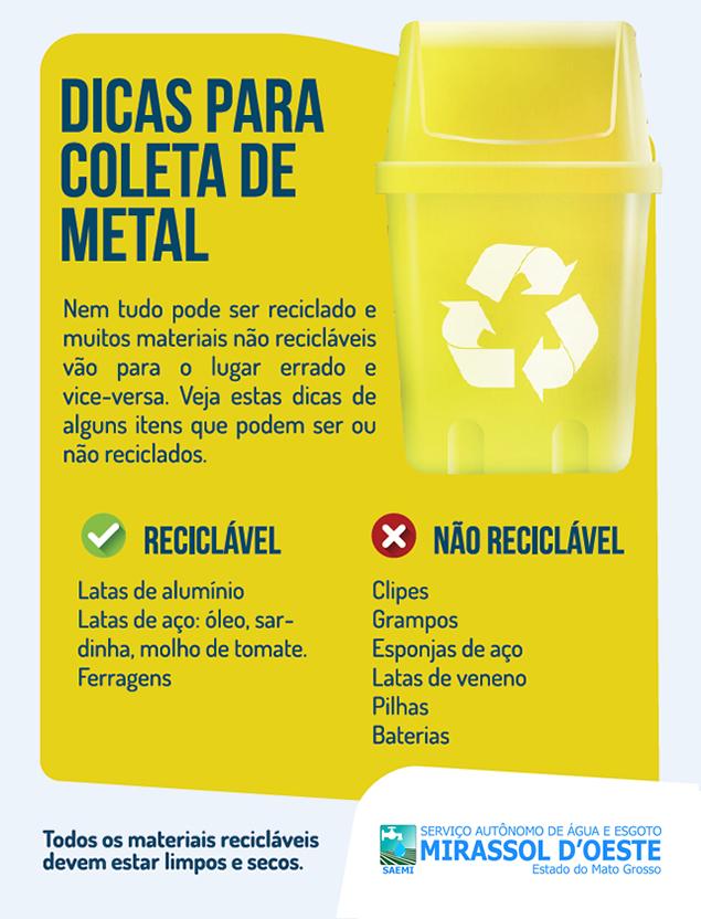 Dicas coleta de lixo reciclável - METAL